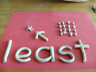 clay model of the word least