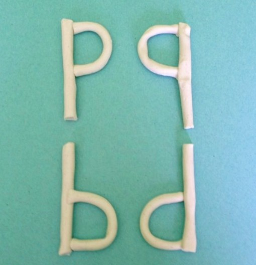 clay letters p q b d