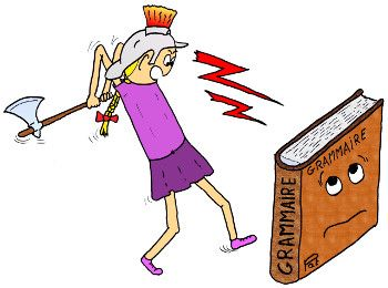 Cartoon of girl attacking grammar book